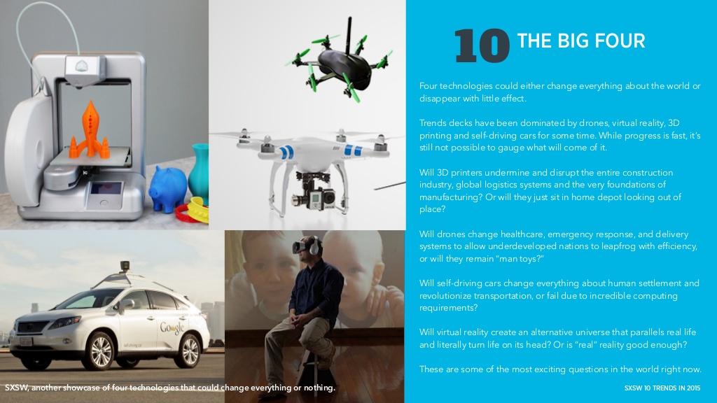 두말이 필요 없는 요즘 테크 업계에서 가장 주목 받는 아이템들, 3D 프린터 / 드론 / 무인자동차 / VR